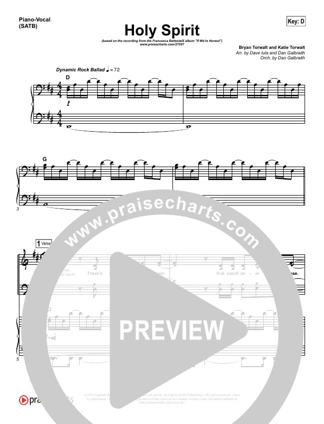 Holy Spirit  Piano/Vocal (SATB) (Francesca Battistelli)