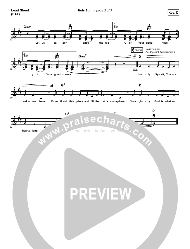 Holy Spirit  Piano/Vocal Pack (Francesca Battistelli)