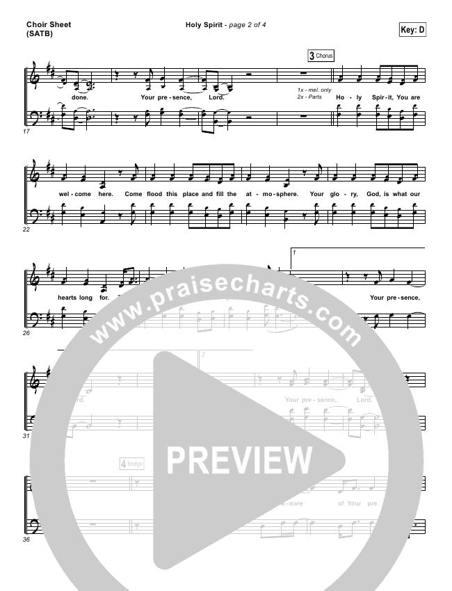 Holy Spirit Choir Sheet (SATB) - Francesca Battistelli | PraiseCharts