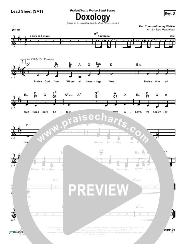 Doxology Lead Sheet (Tommy Walker)