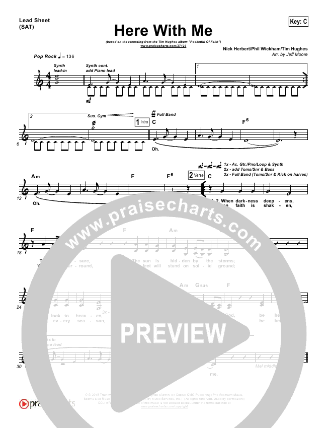Here With Me Lead Sheet (Tim Hughes)