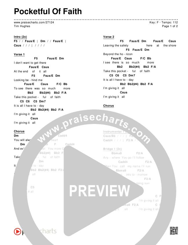 Pocketful Of Faith Chords & Lyrics (Tim Hughes)