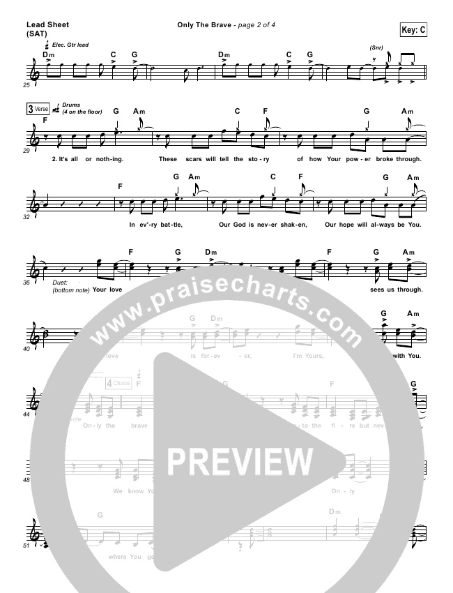 Only The Brave Lead Sheet (Tim Hughes)
