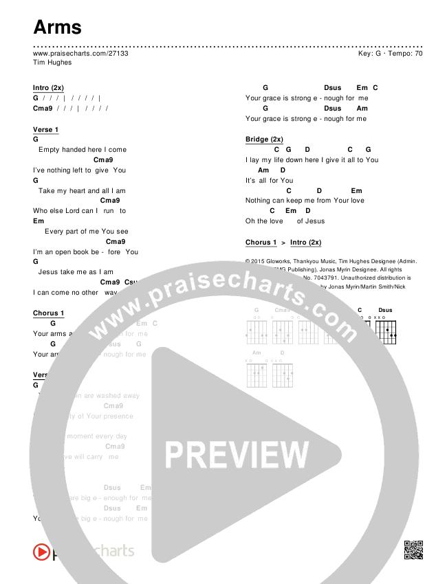Arms Chords & Lyrics (Tim Hughes)