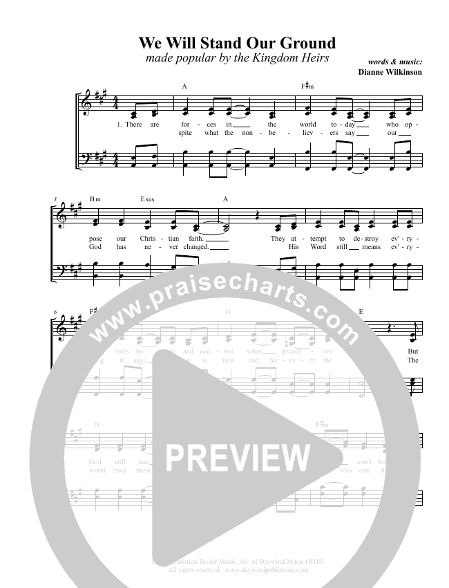 We Will Stand Our Ground Choir Sheet (SATB) (Kingdom Heirs)