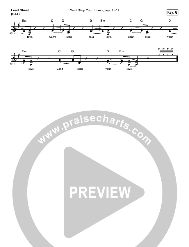 Can't Stop Your Love Lead Sheet (One Sonic Society)