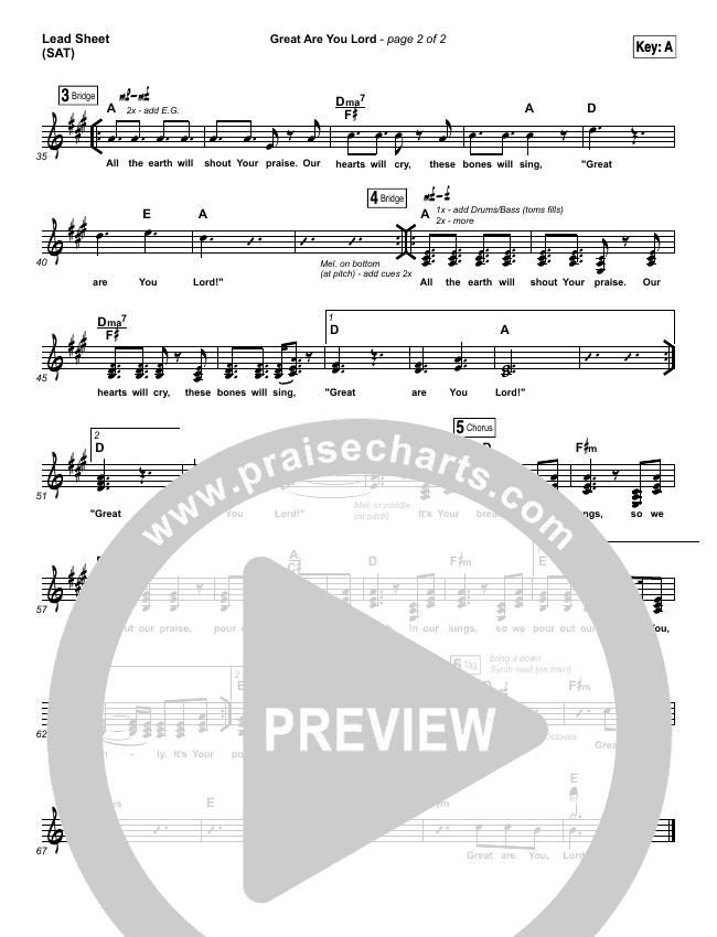 Great Are You Lord Lead Sheet (SAT) (One Sonic Society)