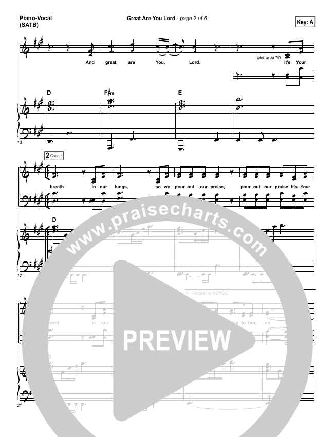 Great Are You Lord Piano/Vocal (SATB) (One Sonic Society)