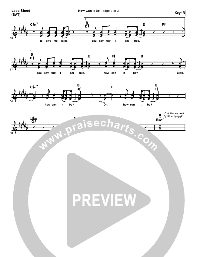 How Can It Be Lead Sheet (One Sonic Society)