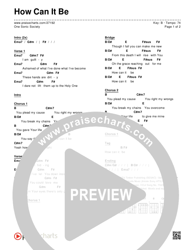 How Can It Be Chords & Lyrics (One Sonic Society)