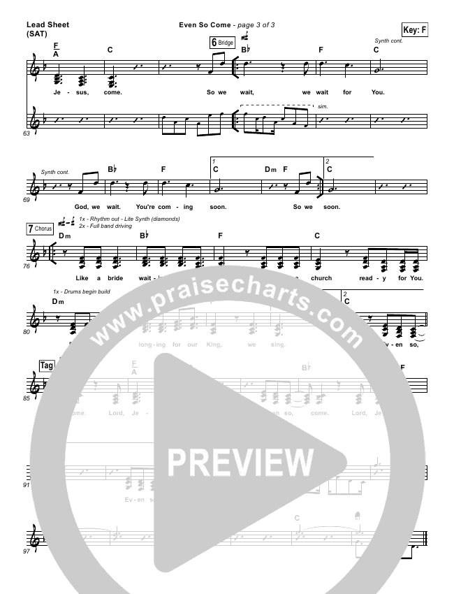 Even So Come Lead Sheet (One Sonic Society)