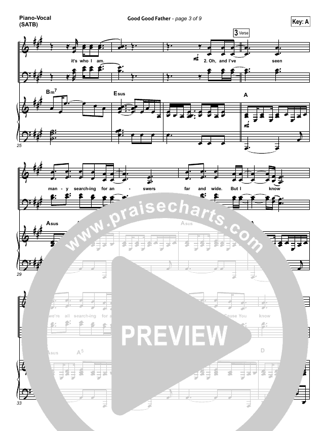 Good Good Father Piano/Vocal (SATB) (Housefires)