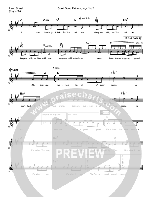 Good Good Father Lead Sheet (Melody) (Housefires)