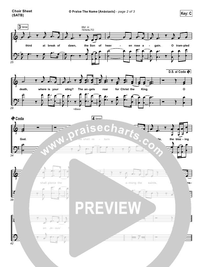 O Praise The Name (Anastasis) Choir Sheet (SATB) - Hillsong Worship