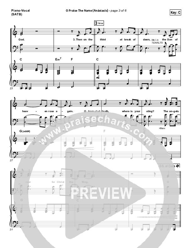 O Praise The Name (Anastasis) Piano/Vocal (SATB) (Hillsong Worship)