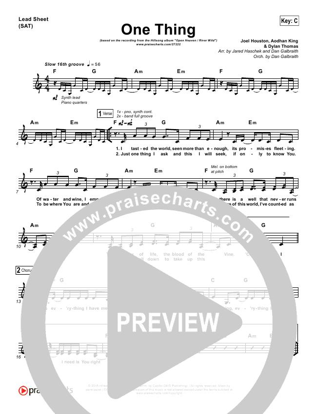 One Thing Lead Sheet Pianovocal Hillsong Worship Praisecharts