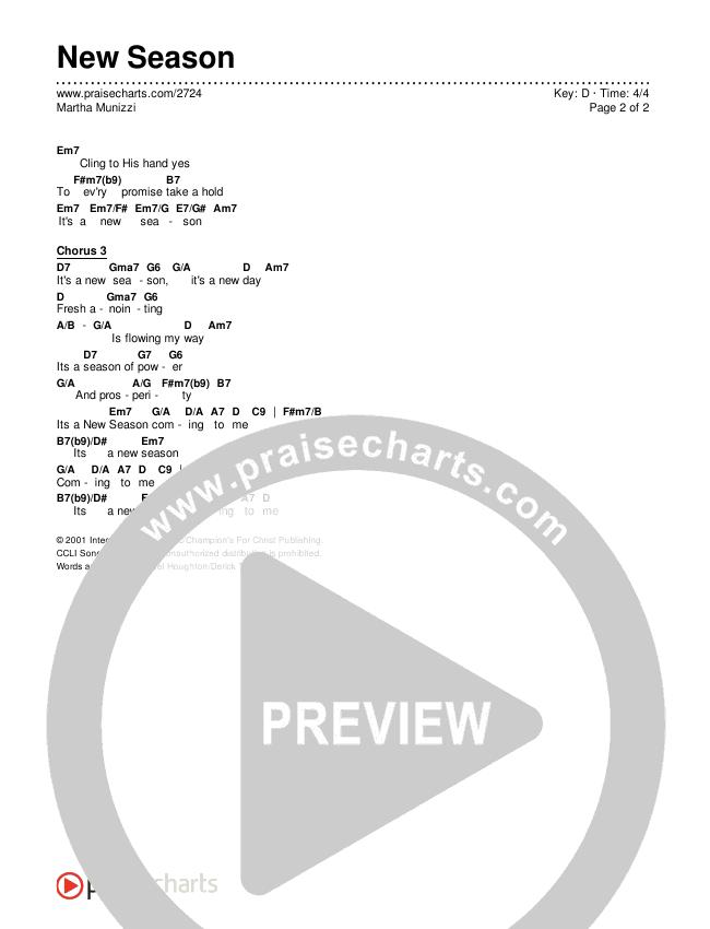 New Season Chords & Lyrics (Martha Munizzi)