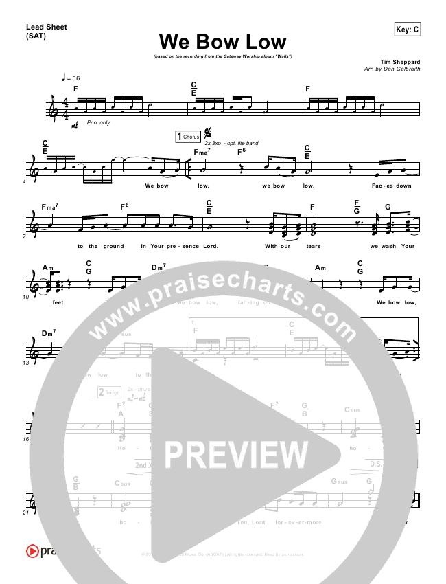 We Bow Low Lead Sheet Pianovocal Gateway Worship Praisecharts