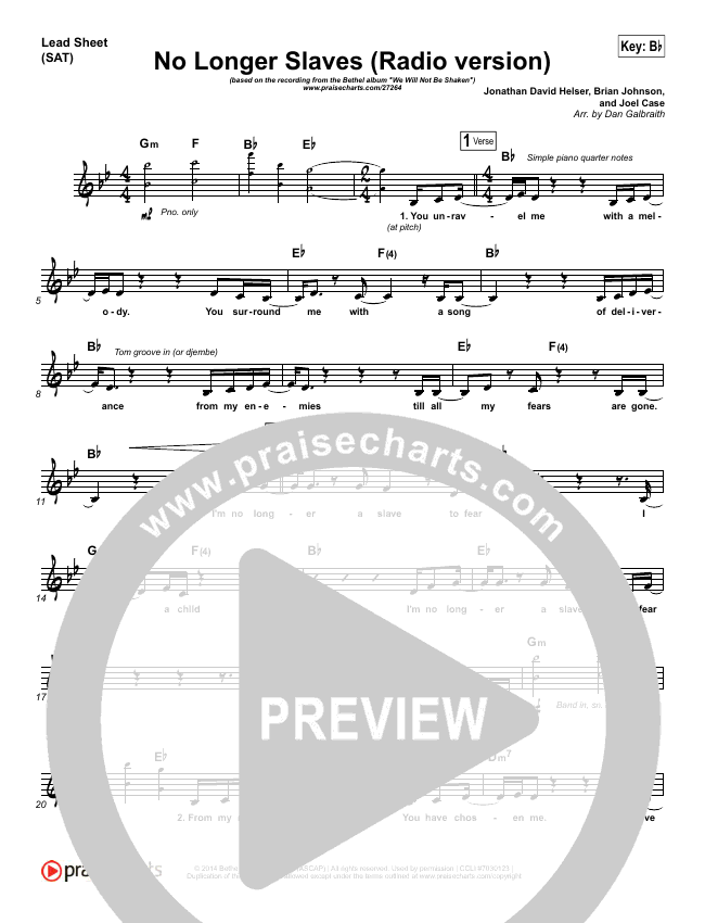 No Longer Slaves (Radio) Lead Sheet (SAT) (Bethel Music / Jonathan David Helser)
