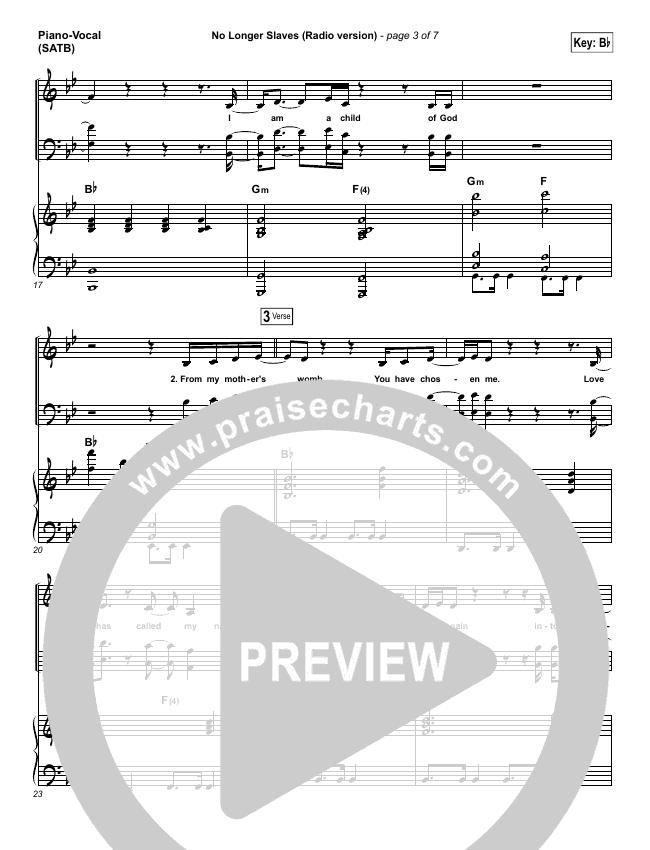 No Longer Slaves (Radio) Piano/Vocal (SATB) (Bethel Music / Jonathan David Helser)