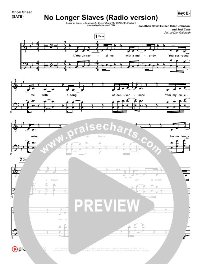 No Longer Slaves (Radio) Choir Sheet (SATB) (Bethel Music / Jonathan David Helser)
