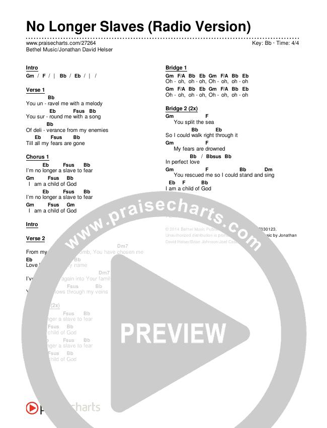 No Longer Slaves (Radio) Chords & Lyrics (Bethel Music / Jonathan David Helser)