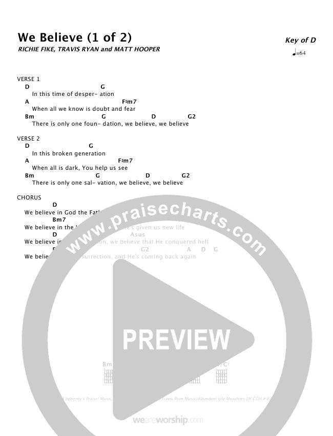 We Believe Chord Chart (Travis Ryan)