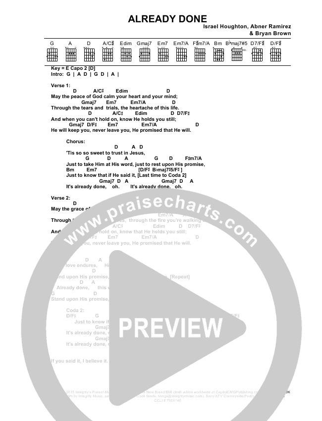 Already Done Chords Israel Houghton Praisecharts