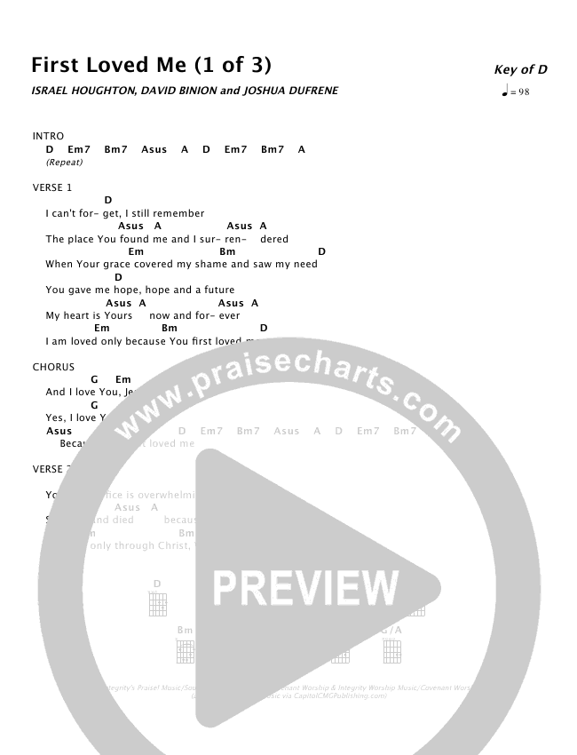 First Loved Me Chords Israel Houghton Praisecharts