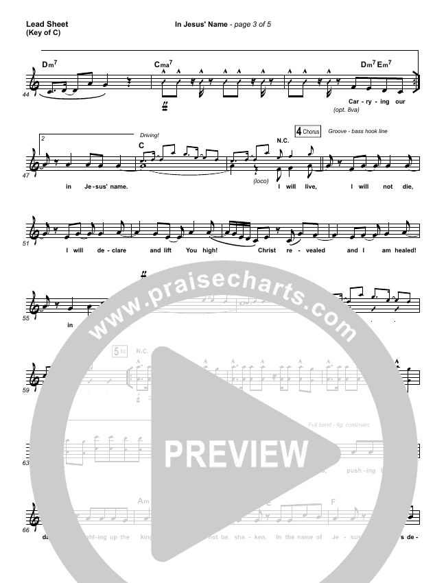In Jesus' Name Lead Sheet (Melody) (Israel Houghton)