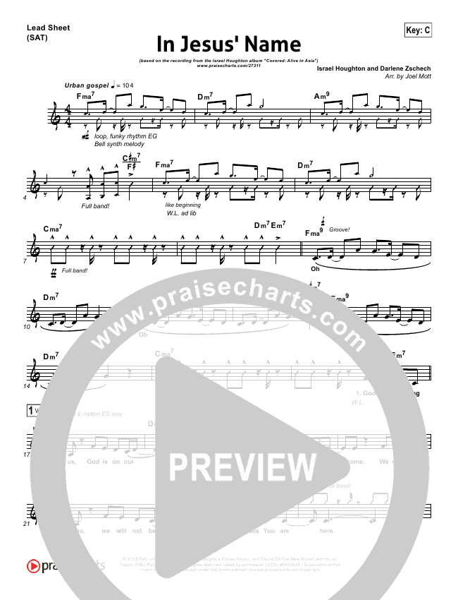 In Jesus Name Lead Sheet Pianovocal Israel Houghton Praisecharts