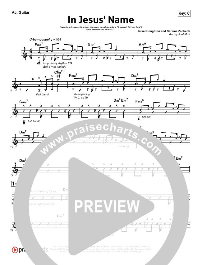 In Jesus Name Rhythm Chart Israel Houghton Praisecharts