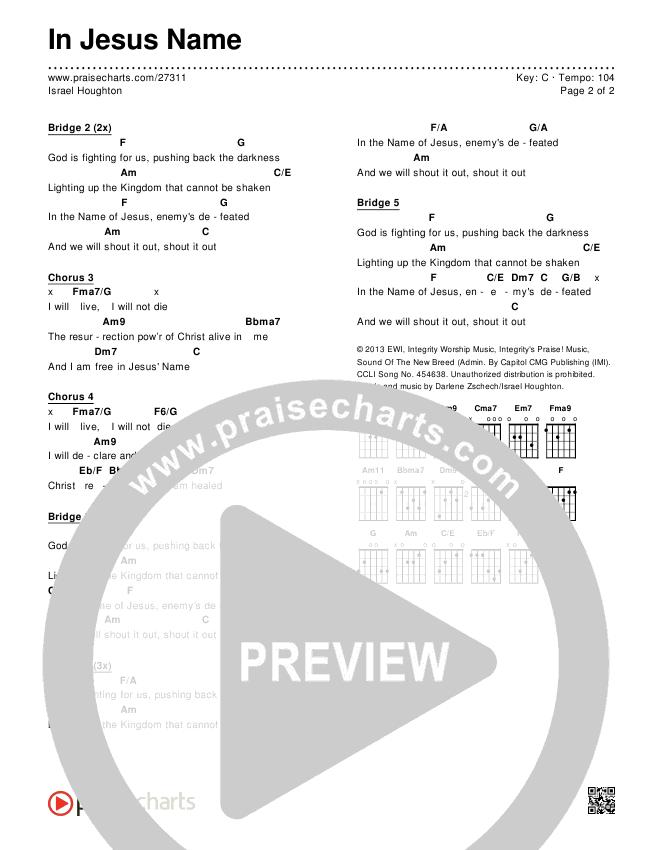 In Jesus Name Chord Chart (Editable) - Israel Houghton