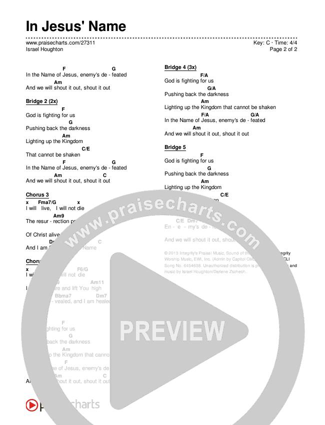 In Jesus' Name Chords & Lyrics (Israel Houghton)