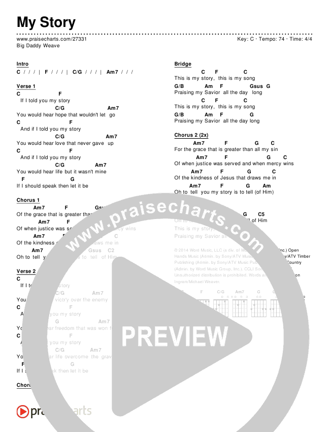 My Story Chords - Big Daddy Weave | PraiseCharts
