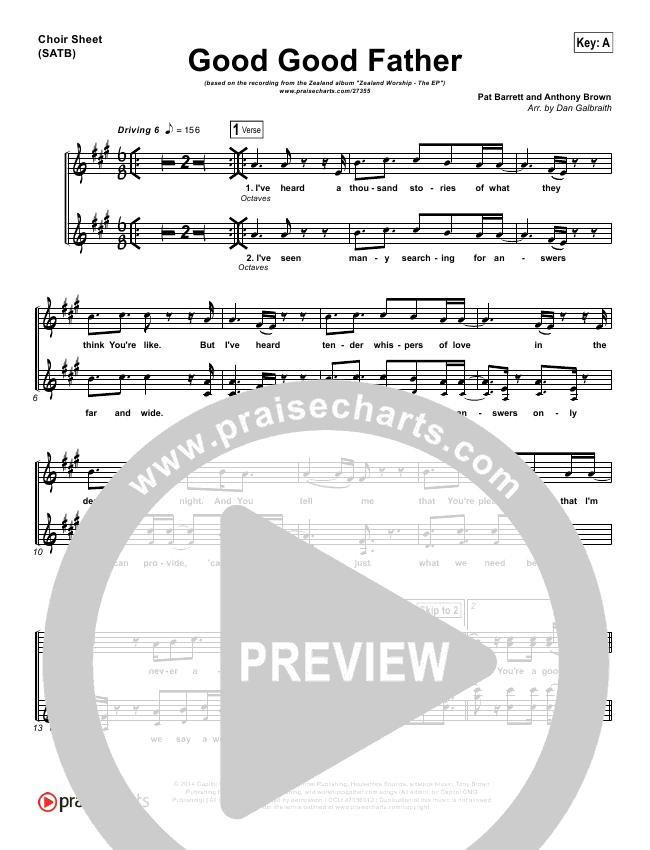 Good Good Father Choir Sheet (SATB) (Zealand)
