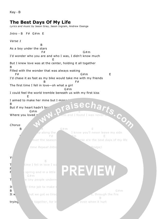 The Best Days Of My Lifechords Jason Gray Praisecharts