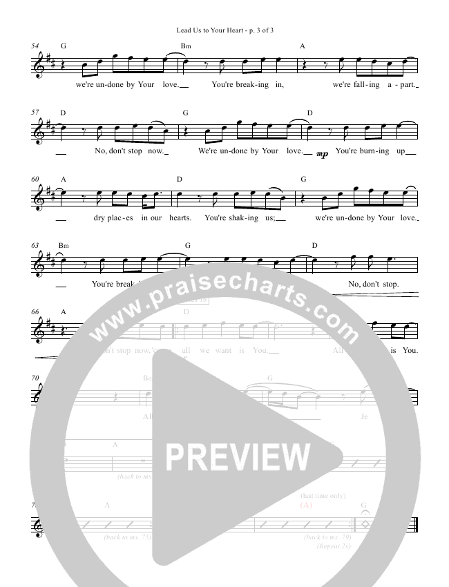 Lead Us To Your Heart Lead Sheet (Zealand)