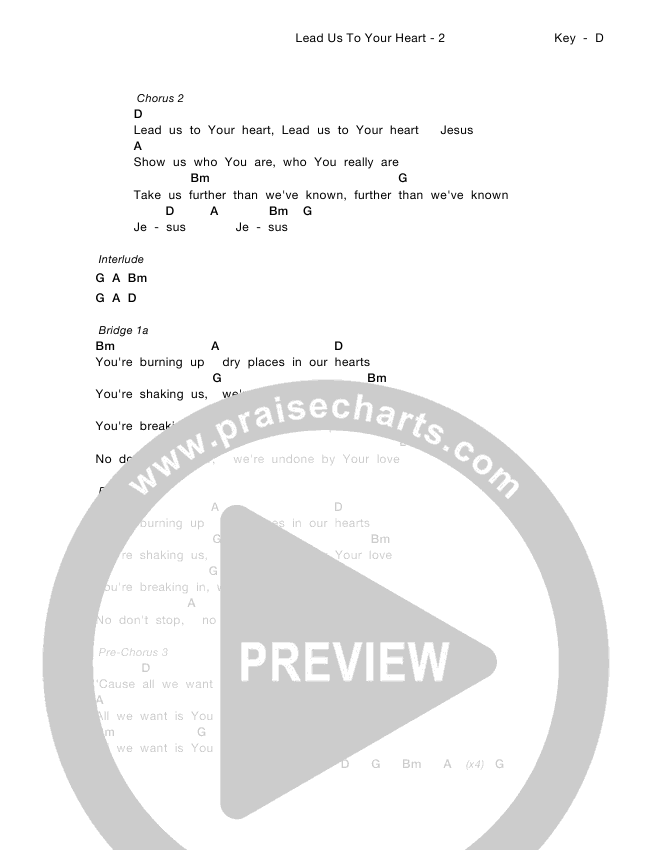Lead Us To Your Heart Chord Chart (Zealand)