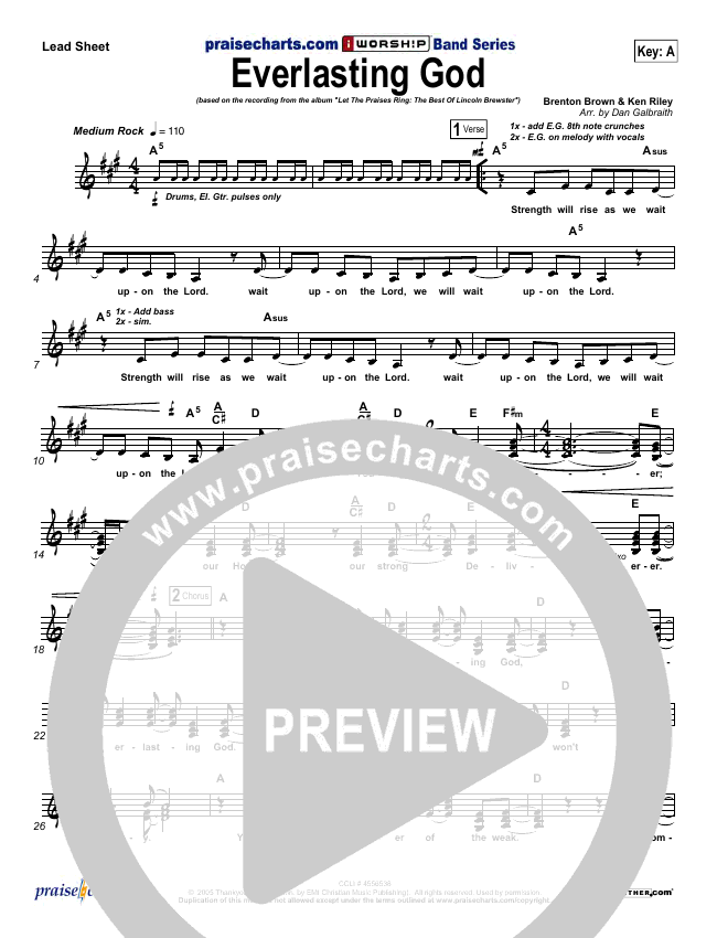 Everlasting God Lead Sheet (SAT) (Lincoln Brewster)