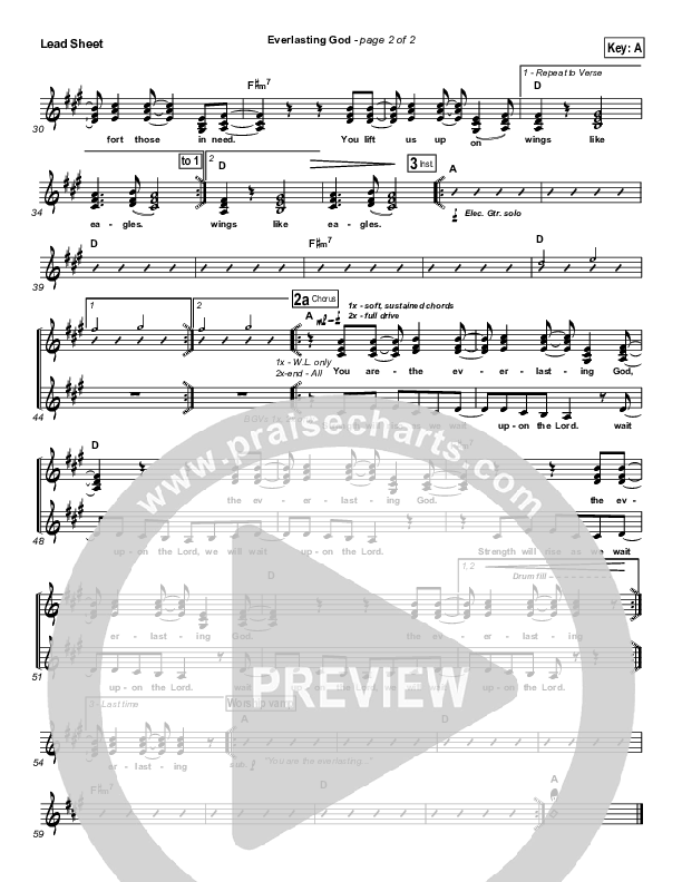 Everlasting God Lead & Piano/Vocal (Lincoln Brewster)