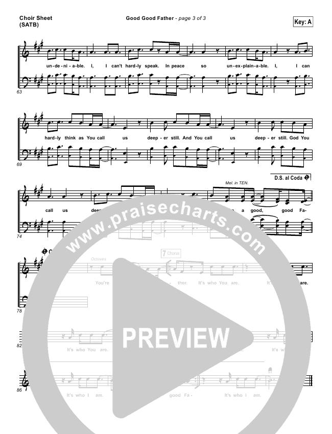 Good Good Father Choir Sheet (SATB) (Big Daddy Weave)