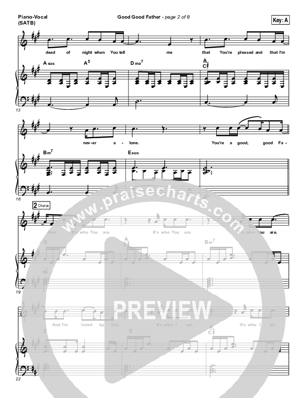 Good Good Father Piano/Vocal (SATB) (Big Daddy Weave)