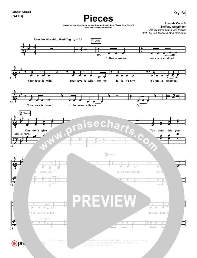 Pieces Choir Sheet (SATB) (Amanda Lindsey Cook)