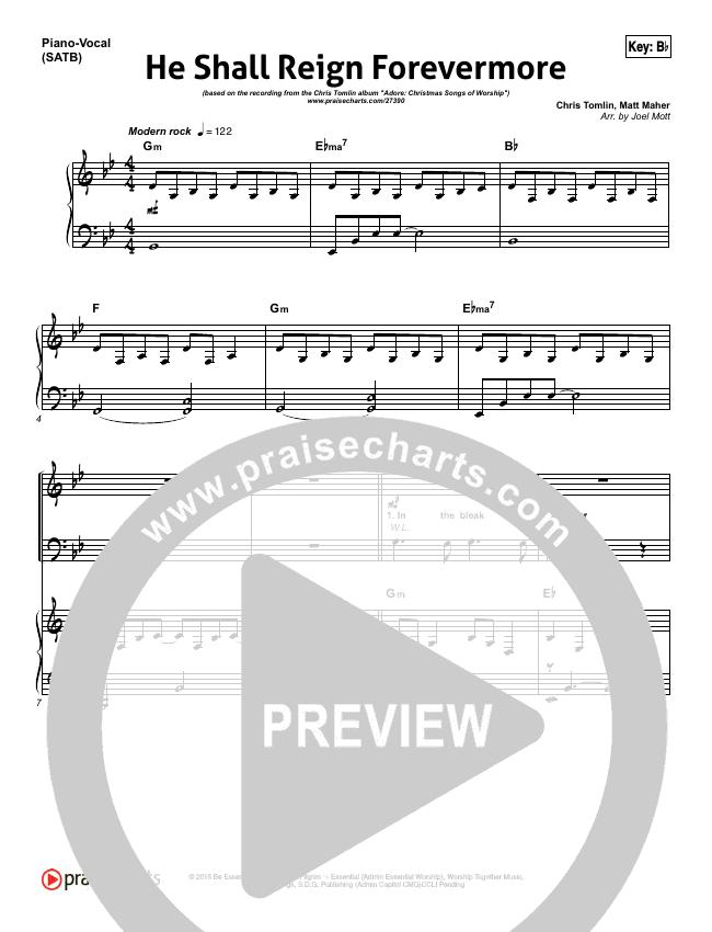 He Shall Reign Forevermore Piano/Vocal (SATB) (Chris Tomlin)