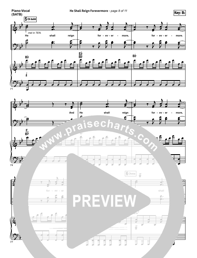 He Shall Reign Forevermore Lead Sheet Pianovocal Chris Tomlin