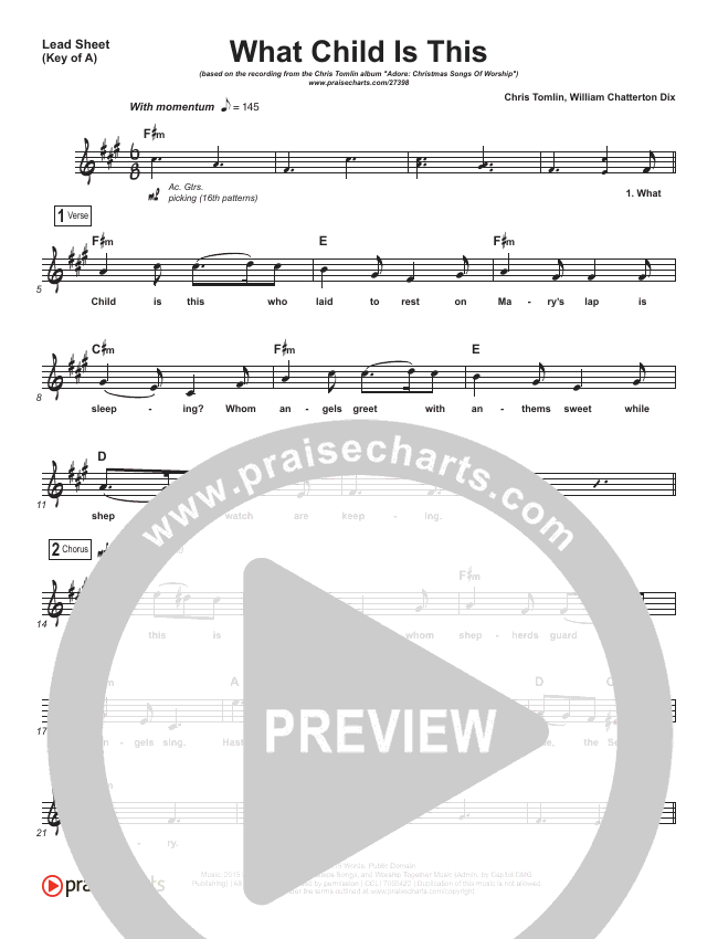 What Child Is This Lead Sheet (Melody) (Chris Tomlin / All Sons & Daughters)