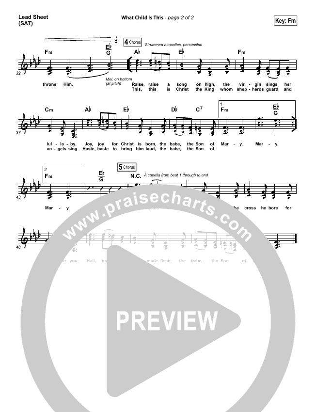 What Child Is This Lead Sheet (SAT) (Chris Tomlin / All Sons & Daughters)