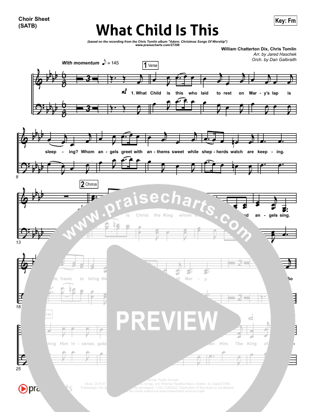 What Child Is This Choir Sheet (SATB) (Chris Tomlin / All Sons & Daughters)