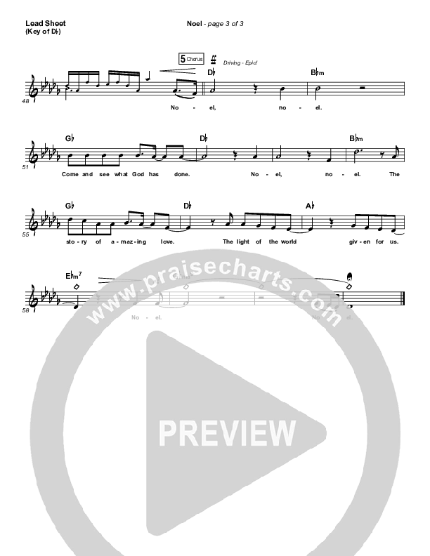 Noel Lead Sheet (Melody) (Lauren Daigle)